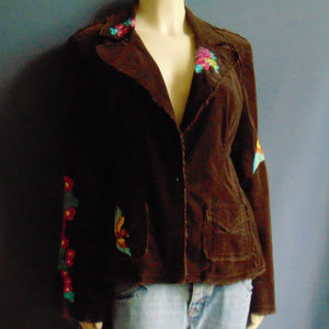 Johnny Was Parrot Embroidered Brown Cord Jacket L